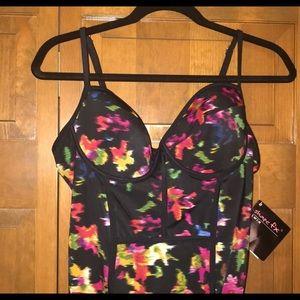 Shape FX control floral swimsuit